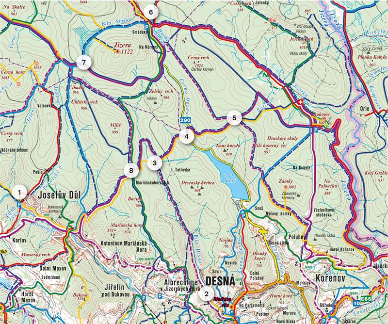 Mapka: z údolí na hřebeny