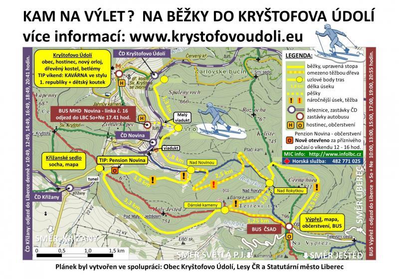 Běžecké tratě v okolí Kryštofova Údolí